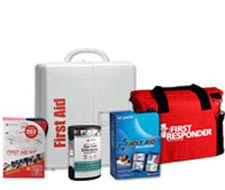 Image displaying first aid kit shelf, first responder kit bag, and other first aid kits.