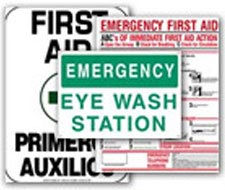 Image of emergency first aid, emergency eye wash signs.