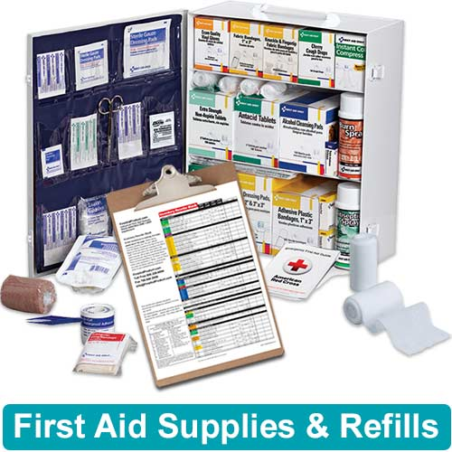 Image of first aid supplies, first aid cabinet, and a firstaidproduct.com refill order form