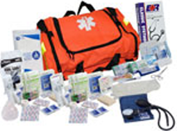 Different First Responder Emergency and CPR Kits ranging from 206 Piece Professional Kits to 216+ Piece Kits.