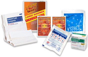 Image displaying a compilation of heat packs, hand warmers, ice packs, reusable hot and cold packs, and unitized cold-hot products