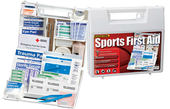 Image of first aid kits that have been designed with sports injuries in mind. They include items for hot and cold therapy, taping, bumps, bruises, sprains and strains.