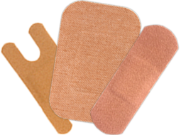 Heavy Woven Patch Bandages, Knuckle Bandages, Adhesive Bandages & Heavy Woven Fingertip Bandages.