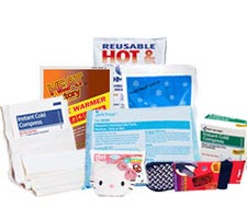 Image displaying a compilation of heat packs, hand warmers, ice packs, reusable hot and cold packs, and unitized cold-hot products.