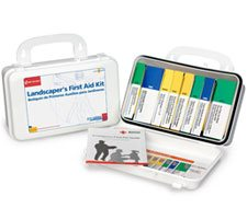 The Landscaper's First Aid Kit comes with all necessary safety measures in a sturdy plastic case with rubber gasket.