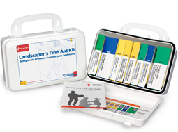 The Landscaper's First Aid Kit includes all necessary safety measures in a sturdy plastic case with rubber gasket.