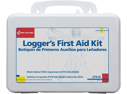 Logger First Aid Kits are available in plastic cases or sturdy metal cases.