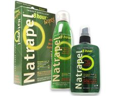 Image of Natrapel 8-hour 3.4oz Pump, Natrapel® 8-hour 6oz Continuous Spray, and Natrapel 8-hour Wipes 12/box.
