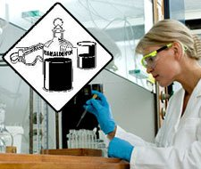Image of lab technician working with chemicals in a laboratory and a cation sign with formaldehyde logo