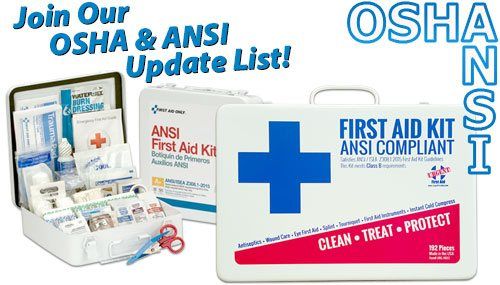 Image of two ANSI compliant first aid kits with a superemposed title reading Join Our OSHA and ANSI Update List