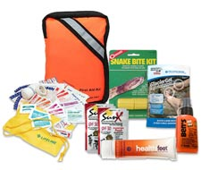Image of outdoor, wilderness and camping first aid kits. Also displays back country supplies and gear.