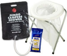 Image of a jumbo camper shower, disposable toilet and body wipes.
