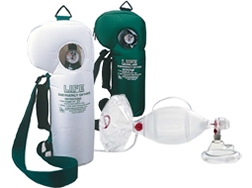 Image displaying Emergency Oxygen Units and Ambu Spur bag valve masks ventilation supplies