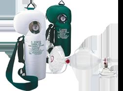 Image displaying Emergency Oxygen Units and Ambu Spur bag valve masks ventilation supplies