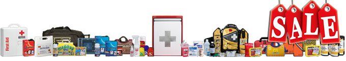 Image of many first aid, emergency and disaster items with SALE banner