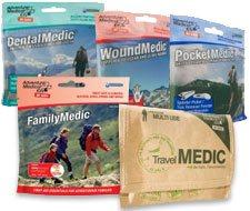 Image of pocket sized dental medic kit, travel medic kit, family medic kit, wound medic kit and pocket medic kit.