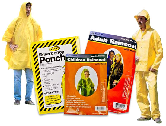Image of Adult Size Emergency Poncho, Child Size Emergency Poncho, and Adult Emergency Poncho.