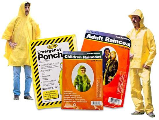 Image of Adult Size Emergency Poncho, Child Size Emergency Poncho, and Adult Emergency Poncho.