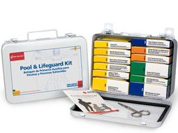 Pool and Lifeguard First Aid Kits in a metal case with a rubber gasket for Water Protection.