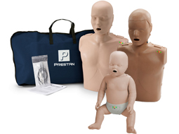 Image of adult, Prestan Adult, Prestan Child, and Prestan Infant CPR Manikins.