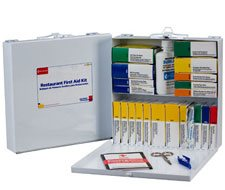 Image of Restaurant First Aid Kitkit 27+ unit, 201 piece, Metal Case, 1 ea.