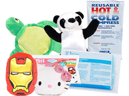 Image of reheatable hot packs, iron man cold pack, turle cold pack, hello kitty cold pack, and reusable cold packs.