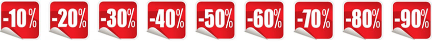 image of discount stickers... List of percentages off available with sale pricing