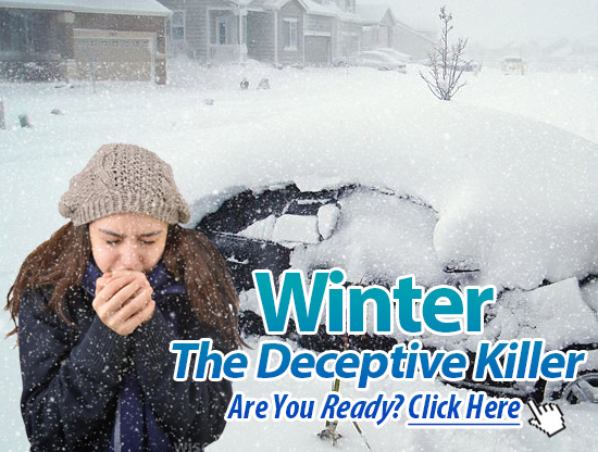 Image of girl stuck in a rut during cold blizzard with tagline prompting user to click on image which reads: Winter, The Deceptive Killer. Are you Ready? Click Here