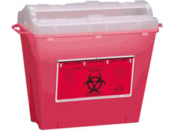 Image of Sharps needle disposal container.