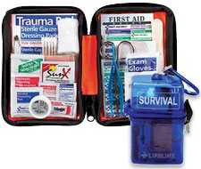 Image of LifeLine First Aid WATERPROOF SURVIVAL KIT and small Outdoor First Aid Kit, Softsided, 107 pc.