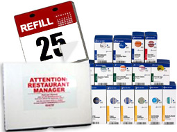 Image of OSHA SmartCompliance Refill Packs and a calendar denoting that a subscription program is available.