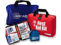 Image of a variety of soft first aid bags. Including one opened kit.
