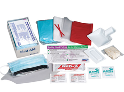 Image of one-time use pack containing necessary products to provide personal protection at a bodily fluid spill scene. Pack is small enough to include in a first aid cabinet or store in a convenient location.