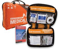 Image of orange soft medical kit bags for hunters and fisherman.
