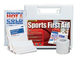 Image of emergency sports first aid kits and gauze roll