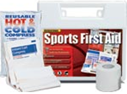 Various Sports First Aid Kits, Ice Packs, Bandages & Cold Sprays, Athletic Tape and Mini Golf First Aid Kits.