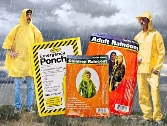 Image two men wearing ponchos in a rain storm. In front of them is an assortment of emergency, children, and adult ponchos.