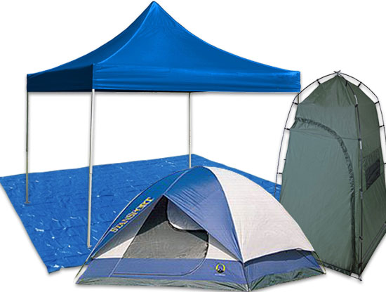 Image of 10 foot by 10 foot Deluxe Pop up Canopy, Deluxe Privacy & Shower Room, and Stansport 5 Person Tent