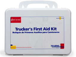 Various Trucker First Aid Kits in a plastic or metal case depending on the size.