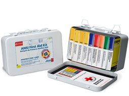 ANSI First Aid Kit. Sm-Lg Bulk ANSI First Aid Kits available in plastic or metal cases.