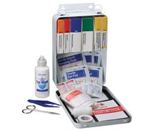 94 Piece Vehicle First Aid Kit - Metal Case with Gasket - 1 each