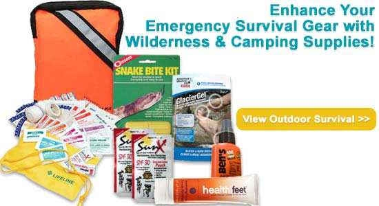 Image of emergency survival gear with wilderness and camping supplies.