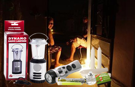Image of family in house during blackout and also a dynamo lanter, flashlight, glowsticks and candles.